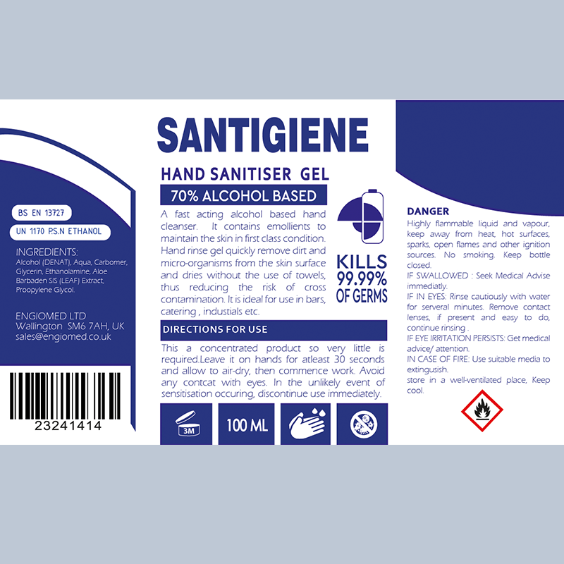 Hand Gel Sanitiser, 70% alcohol based , 1 x 100ml